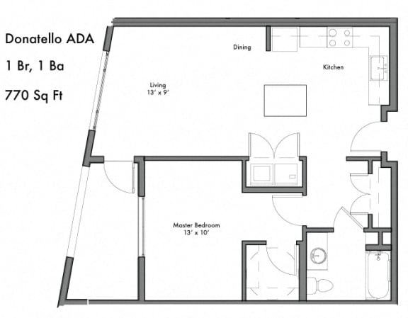 1 Bedroom 1 Bathroom Floor Plan at Discovery West, Issaquah, Washington
