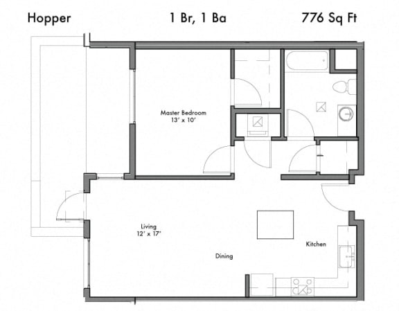 1 Bed 1 Bath Floor Plan at Discovery West, Washington