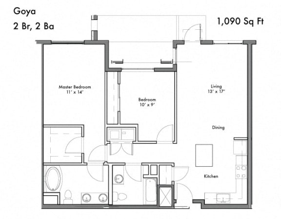 Two Bed Two Bath Floor Plan at Discovery West, Issaquah, Washington