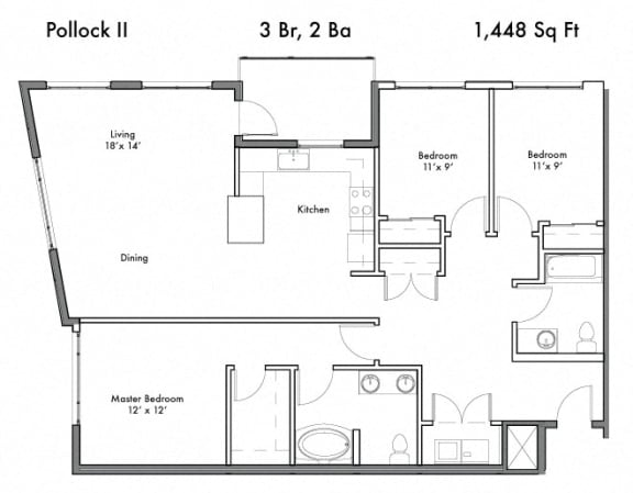 3 Bedroom and 2 Bath Floor Plan at Discovery West, Issaquah, Washington