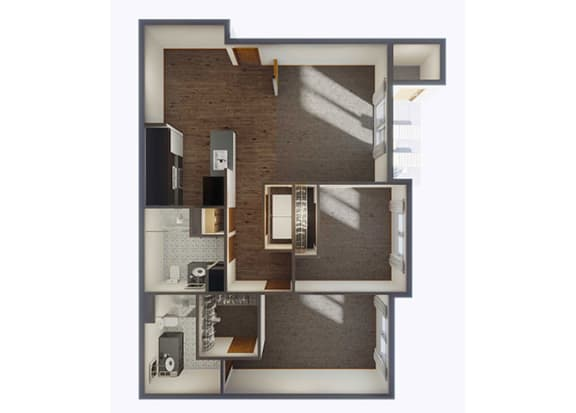 Two Bedroom Floor Plan at Panorama, Snoqualmie, WA, 98065
