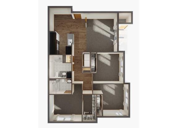 Three Bedroom Floor Plan  at Panorama, Snoqualmie