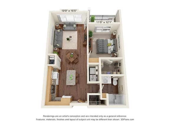 Floor Plan  Covington Crossings_1 Bedroom Floor Plan_A2