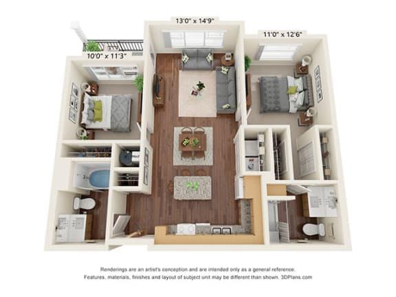 Floor Plan  Covington Crossings_2 Bedroom Floor Plan_B1