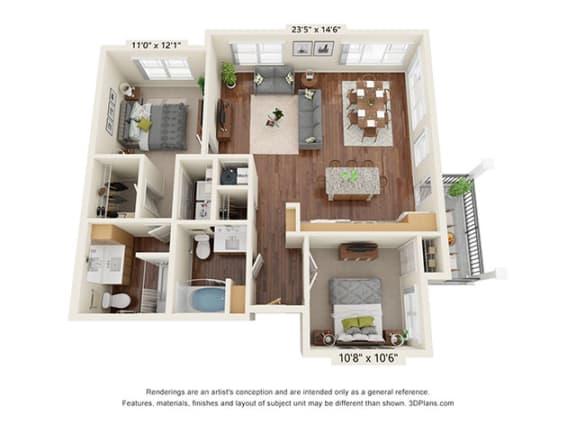 Floor Plan  Covington Crossings_2 Bedroom Floor Plan_B5