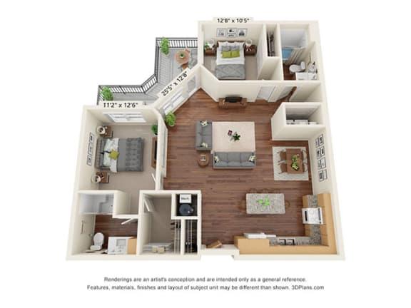 Floor Plan  Covington Crossings_2 Bedroom Floor Plan_B6