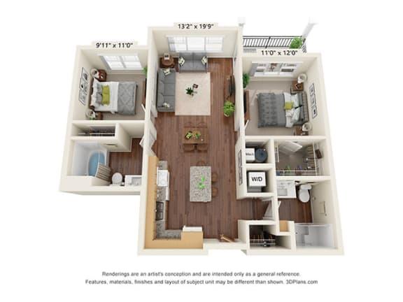 Floor Plan  Covington Crossings_2 Bedroom Floor Plan_B7-ADA