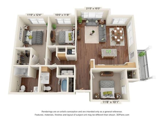 Floor Plan  Covington Crossings_3 Bedroom Floor Plan_C1-ADA