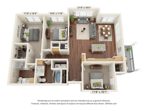 Floor Plan  Covington Crossings_3 Bedroom Floor Plan_C2