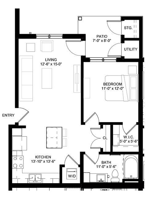 Floor Plan  Crossroad Commons 1 Bedroom Floor Plan