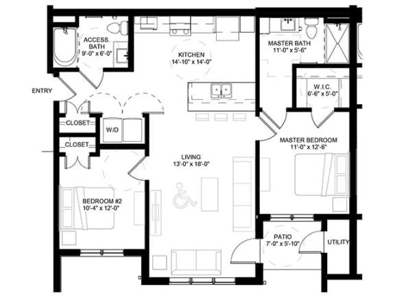 Floor Plan  Crossroad Commons-2 Bedroom Floor Plan