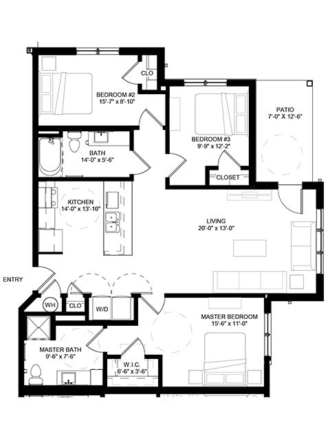 Floor Plan  Crossroad Commons-3 Bedroom Floor Plan