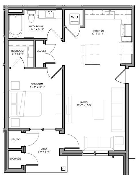 Floor Plan  Preserve at Highland Ridge_1 Bedroom Floor Plan