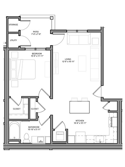 Floor Plan  Preserve at Highland Ridge_1 Bedroom Floor Plan