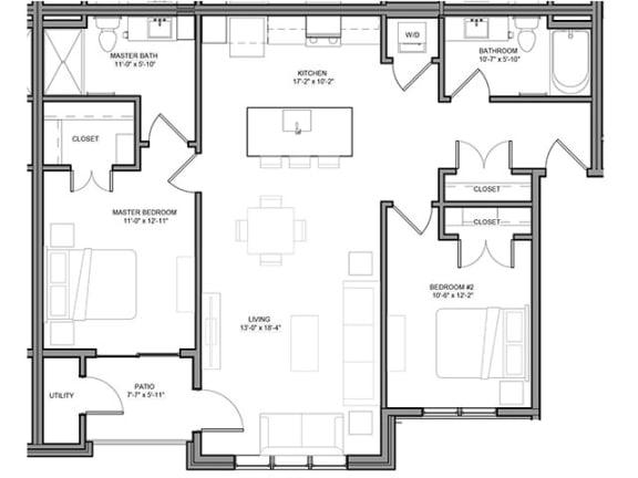 Floor Plan  Preserve at Highland Ridge_2 Bedroom Floor Plan