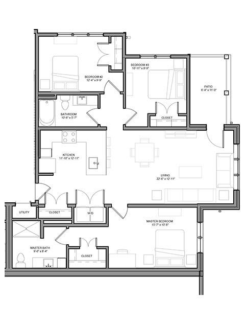 Floor Plan  Preserve at Highland Ridge_3 Bedroom Floor Plan