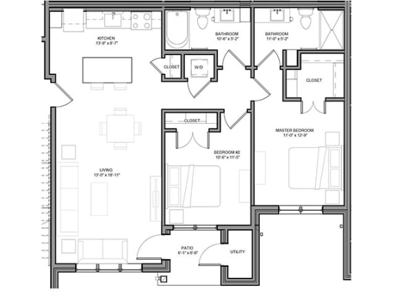 Floor Plan  Preserve at Highland Ridge_2 Bedroom Floor Plan
