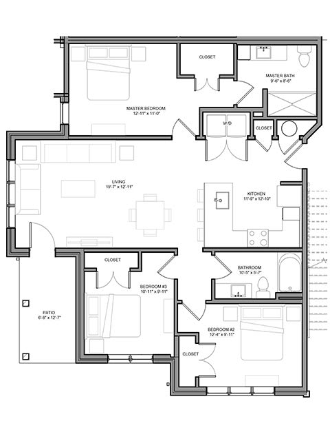 Floor Plan  Preserve at Highland Ridge_3 Bedroom Floor Plan