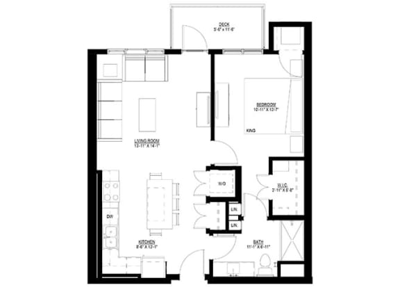 Floor Plan  1 Bedroom Floor Plan