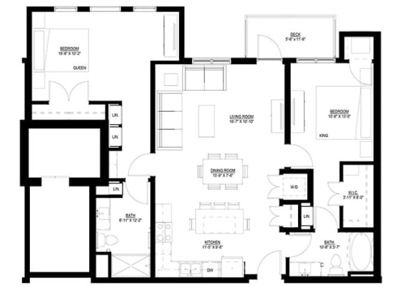 Floor Plan  2 Bedroom Floor Plan