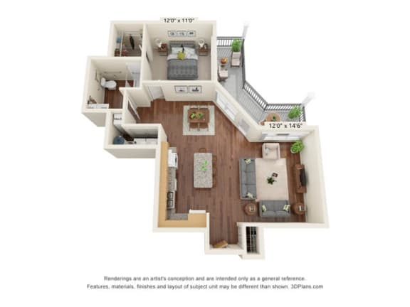 Floor Plan  Stonepointe_1 Bedroom Floor Plan_A3