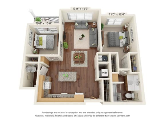 Floor Plan  Stonepointe_2 Bedroom Floor Plan_B2