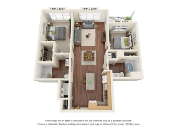 Floor Plan  Stonepointe_2 Bedroom Floor Plan_B3