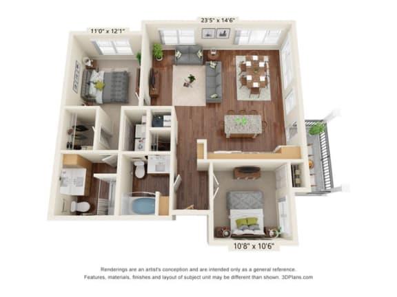 Floor Plan  Stonepointe_2 Bedroom Floor Plan_B5
