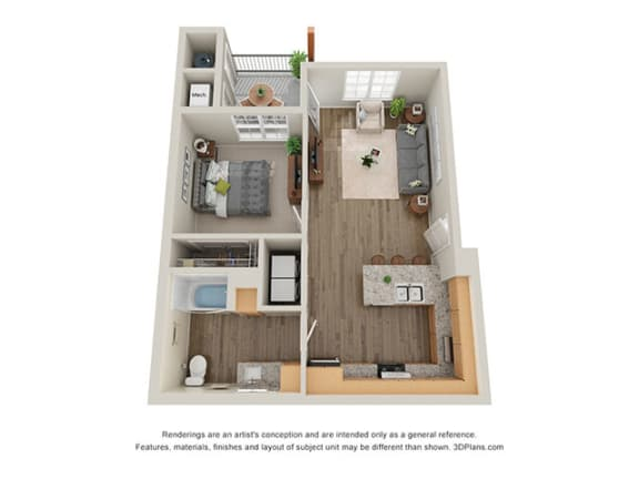 Floor Plan  Timbers at Hickory Tree_1 Bedroom Floor Plan_1A