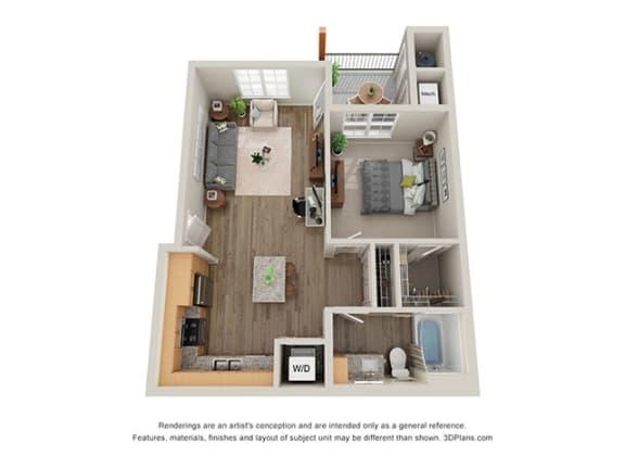 Floor Plan  Timbers at Hickory Tree_1 Bedroom Floor Plan