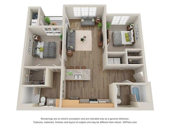 Floor Plan  Timbers at Hickory Tree_2 Bedroom Floor Plan