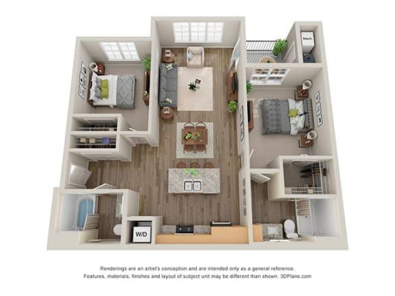 Floor Plan  Timbers at Hickory Tree_2 Bedroom Floor Plan_2B
