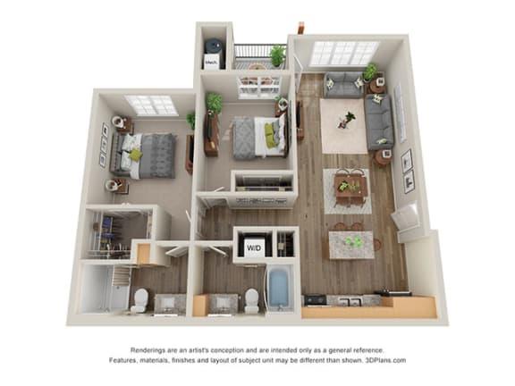 Floor Plan  Timbers at Hickory Tree_2 Bedroom Floor Plan_2C