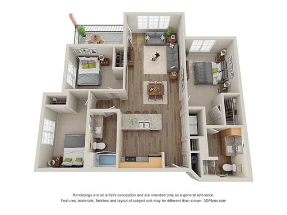 Floor Plan  Timbers at Hickory Tree_3 Bedroom Floor Plan_3A