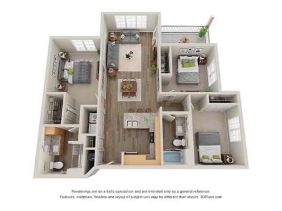 Floor Plan  Timbers at Hickory Tree_3 Bedroom Floor Plan_3B