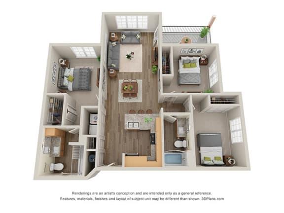 Floor Plan  Timbers at Hickory Tree_3 Bedroom Floor Plan