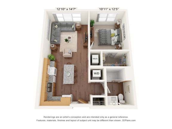 Floor Plan  Bren Road Station_1 Bedroom Floorplan_1A
