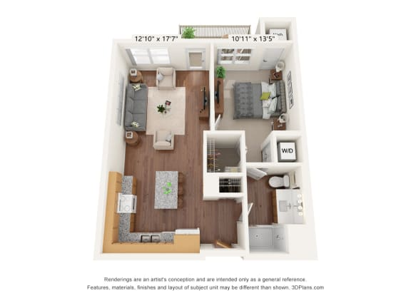 Floor Plan  Bren Road Station_1 Bedroom Floorplan_1B
