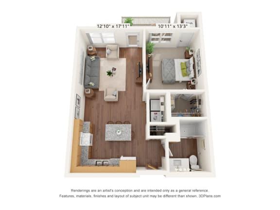 Floor Plan  Bren Road Station_1 Bedroom Floorplan_1C