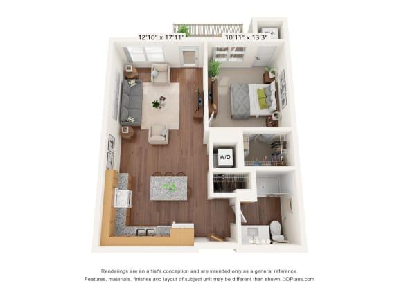 Floor Plan  Bren Road Station_1 Bedroom Floorplan_1D