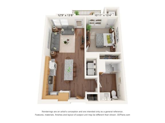 Floor Plan  Bren Road Station_1 Bedroom Floorplan_1E-ADA