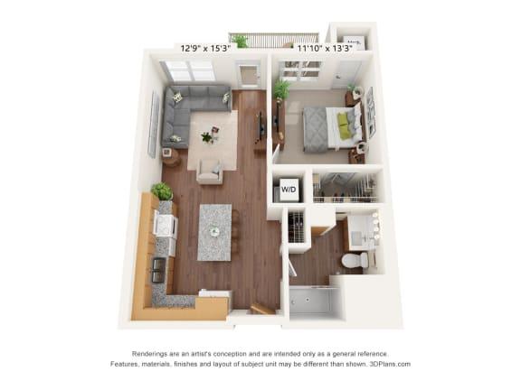 Floor Plan  Bren Road Station_1 Bedroom Floorplan_1F