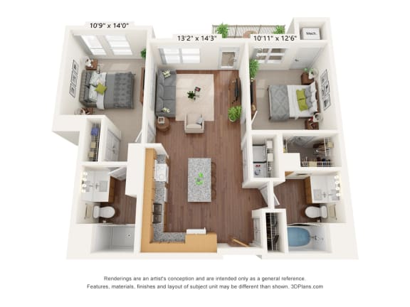 Floor Plan  Bren Road Station_2 Bedroom Floorplan_2A
