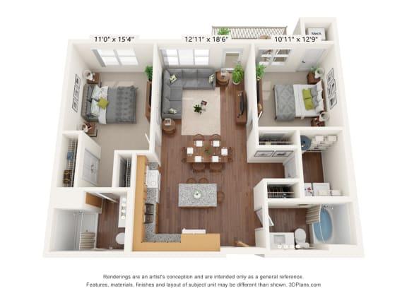 Floor Plan  Bren Road Station_2 Bedroom Floorplan_2C