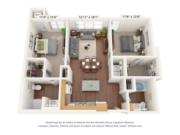 Floor Plan  Bren Road Station_2 Bedroom Floorplan_2D-ADA