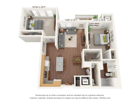 Floor Plan  Bren Road Station_2 Bedroom Floorplan_2E