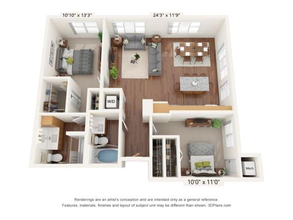 Floor Plan  Bren Road Station_2 Bedroom Floorplan_2F
