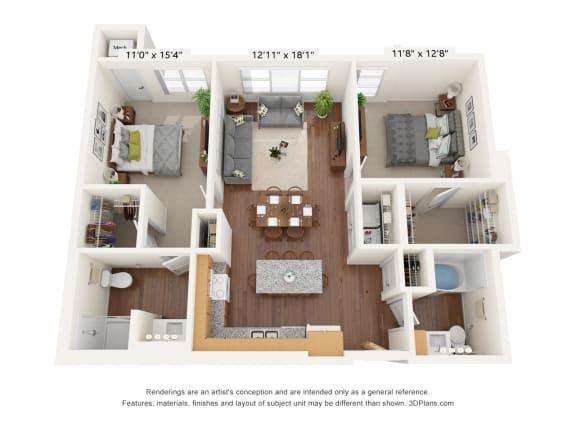 Floor Plan  Bren Road Station_2 Bedroom Floorplan_2G