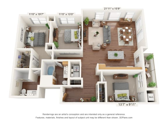 Floor Plan  Bren Road Station_3 Bedroom Floorplan_3A