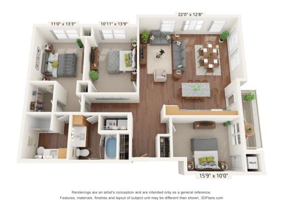 Floor Plan  Bren Road Station_3 Bedroom Floorplan_3B